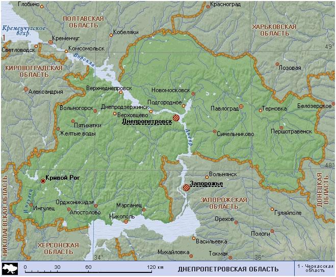 Карта Днепропетровской области